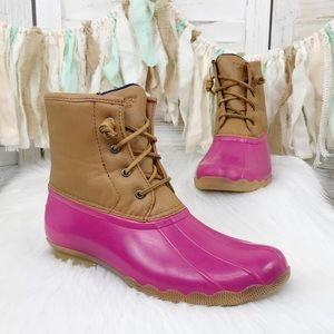 Sperry  / Pink Brown Saltwater Duck Rain Boots 6